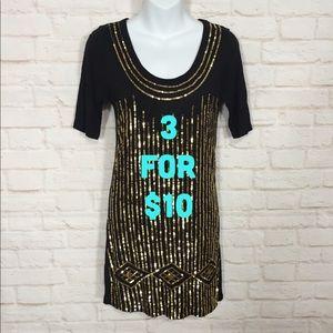 XOXO black & gold sequin dress medium